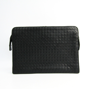 Bottega Veneta Intrecciato 185858 Unisex Leather Clutch Bag Black