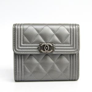 シャネル(Chanel) ボーイ・シャネル A80734 レディース キャビアスキン 札入れ(三つ折り) シルバー