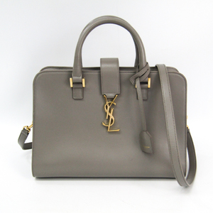 Saint Laurent Cabas S 472469 Unisex Leather Handbag Gray