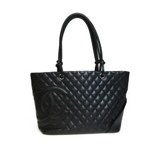 シャネル(Chanel) カンボン ライン A25169 ラージトート レザー トートバッグ ブラック ピンク