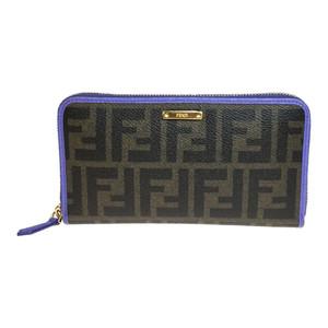 フェンディ(Fendi) ズッカ 8M0299 レザー 長財布(二つ折り) ブラウン,パープル