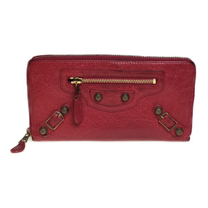 Auth Balenciaga 253053 Giant Continental Leather Long Wallet (bi-fold) Red