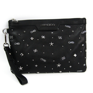 Jimmy Choo Black Leather Clutch Bag With Mixed Charm DREEKSCCC_S Men's Leather Clutch Bag Black