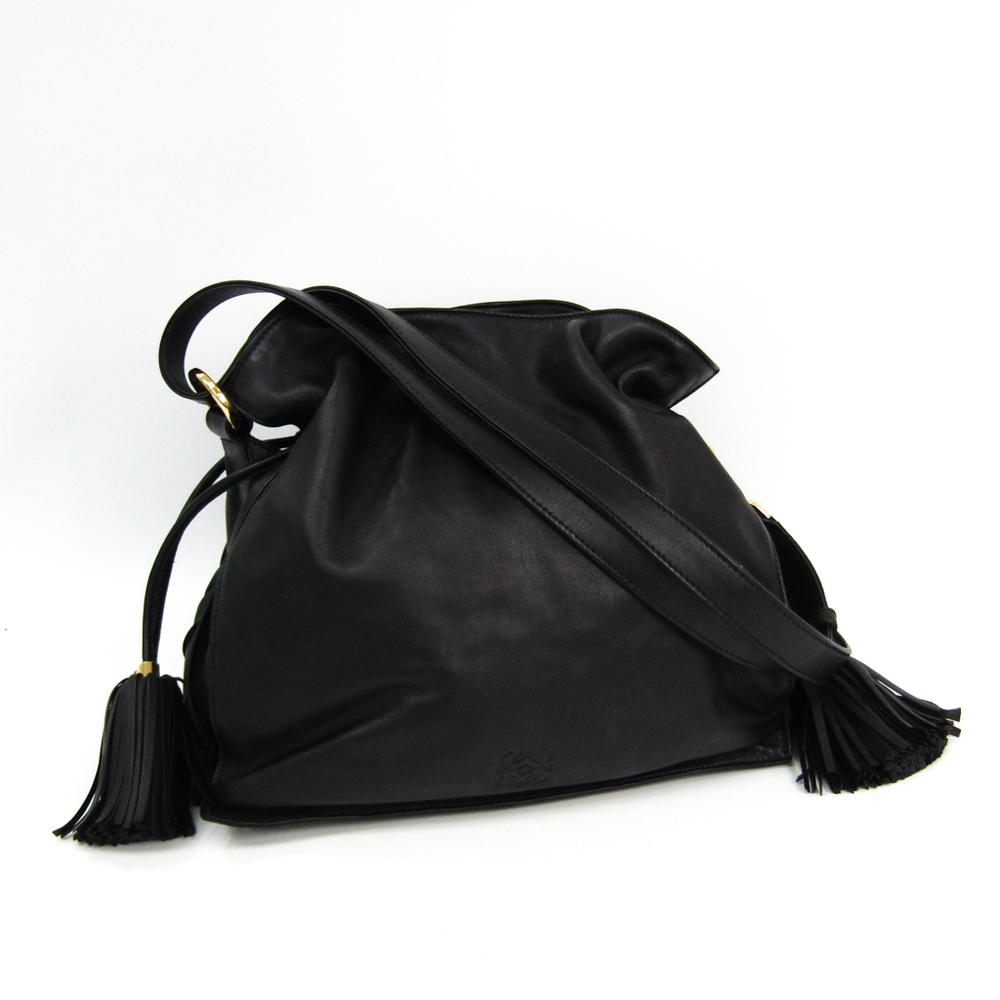 ロエベ(Loewe) フラメンコ 30 380.68.E16 ユニセックス レザー ショルダーバッグ ブラック