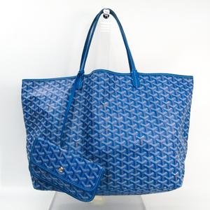 Goyard Saint Louis Saint Louis GM Leather,Canvas Tote Bag Blue