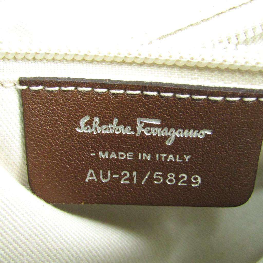 サルヴァトーレ・フェラガモ(Salvatore Ferragamo) ガンチーニ AU-21/5829 レディース PVC,コットン ショルダーバッグ ベージュ,ブラウン