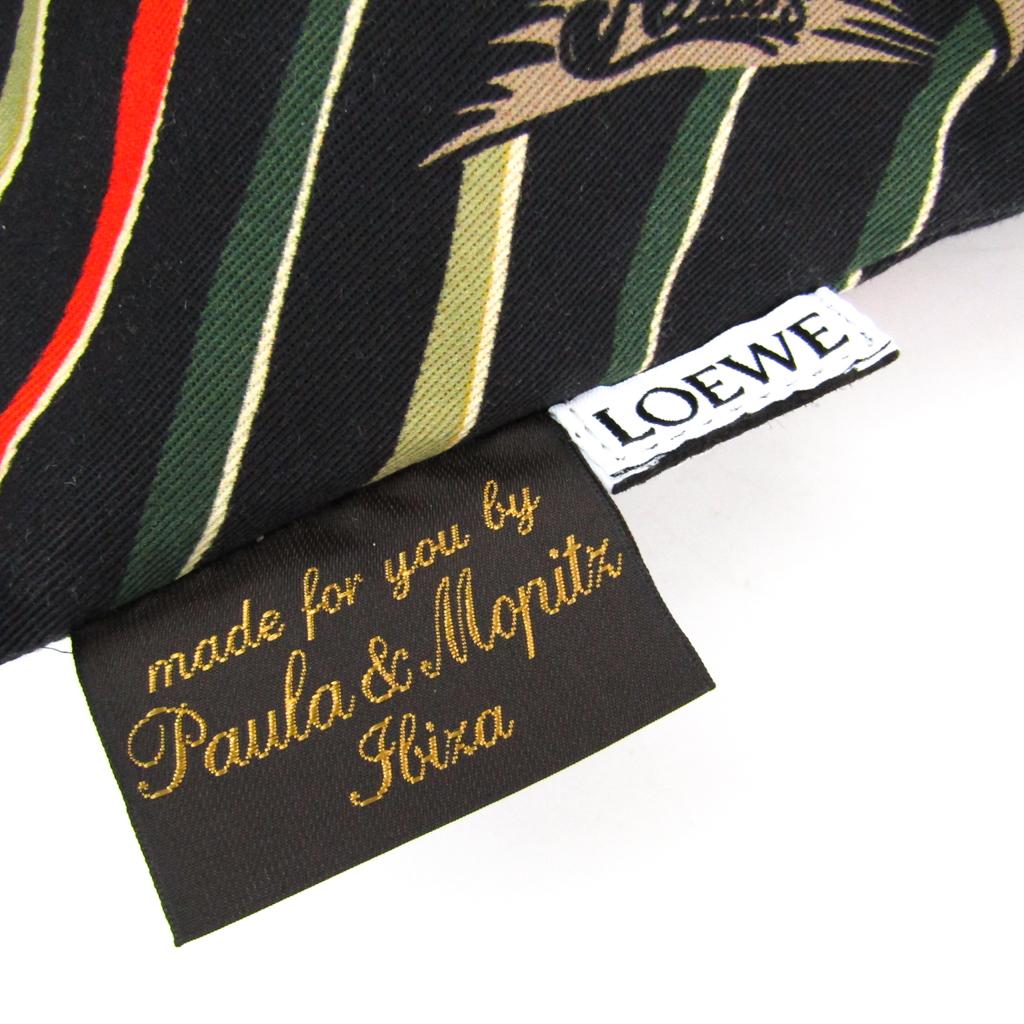 ロエベ(Loewe) Paula Drawstring Pouch L ユニセックス コットン ポーチ ブラック,グリーン,オレンジ