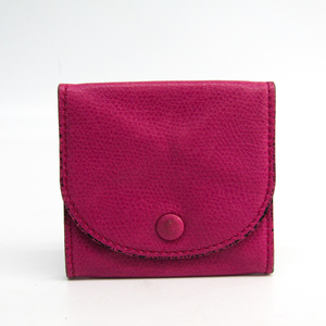 Valextra V0L90 Unisex Leather Coin Purse/coin Case Magenta