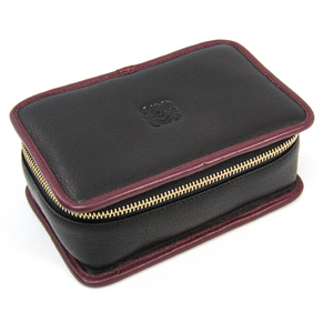 Loewe Lens Holder 199.79.G08 Women's Leather Pouch Black,Bordeaux
