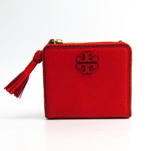 Tory Burch TAYLOR MINI WALLET 52722 Women's  Calfskin Wallet (bi-fold) Red