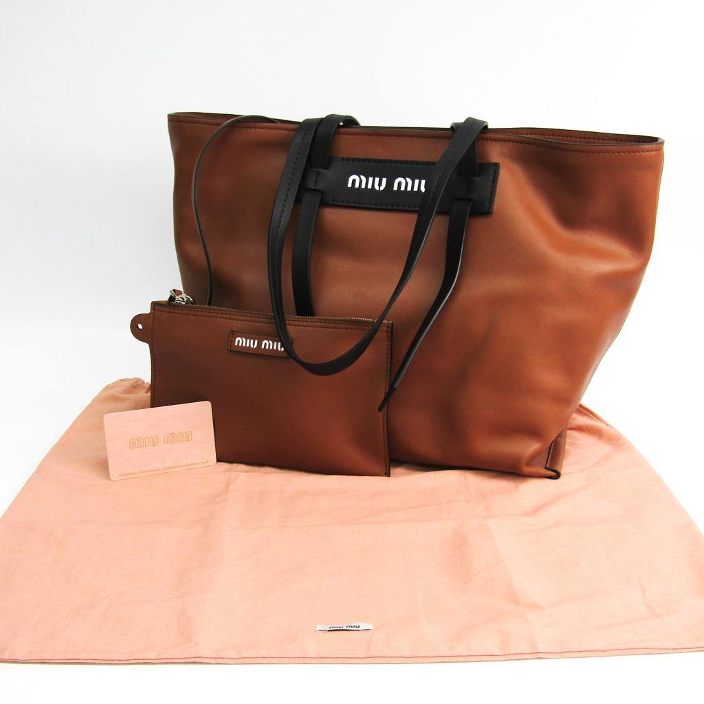 ミュウ・ミュウ(Miu Miu) 5BG117 レディース レザー トートバッグ ブラック,ブラウン