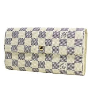 ルイ・ヴィトン (Louis Vuitton) ダミエアズール ポルトフォイユ サラ レディース ダミエアズール 長財布(二つ折り) ダミエ・アズール,ホワイト