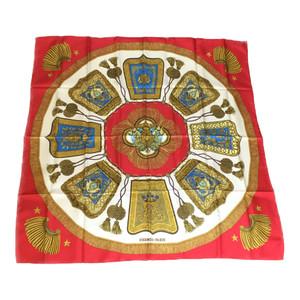 エルメス (Hermes) カレ90 poste et cavalerie サーベル飾袋 シルク スカーフ レッド