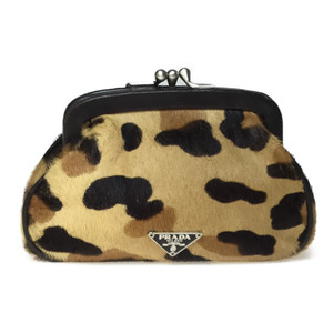 Auth Prada 1M1179 Leather,Fur Pouch Coin case Brown,Camel