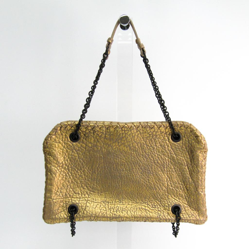 ボッテガ・ヴェネタ(Bottega Veneta) レザー ショルダーバッグ ゴールド