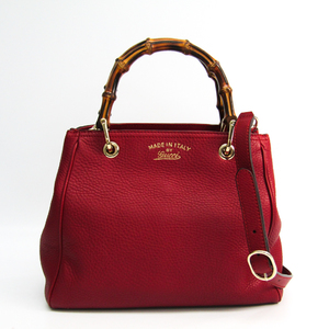 Gucci Gucci Swing Bamboo Shopper Medium 336032 Women's Bamboo,Leather Handbag Red