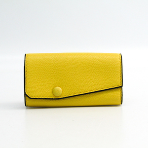 Valextra Twist V1L76 Unisex Leather Key Case Yellow