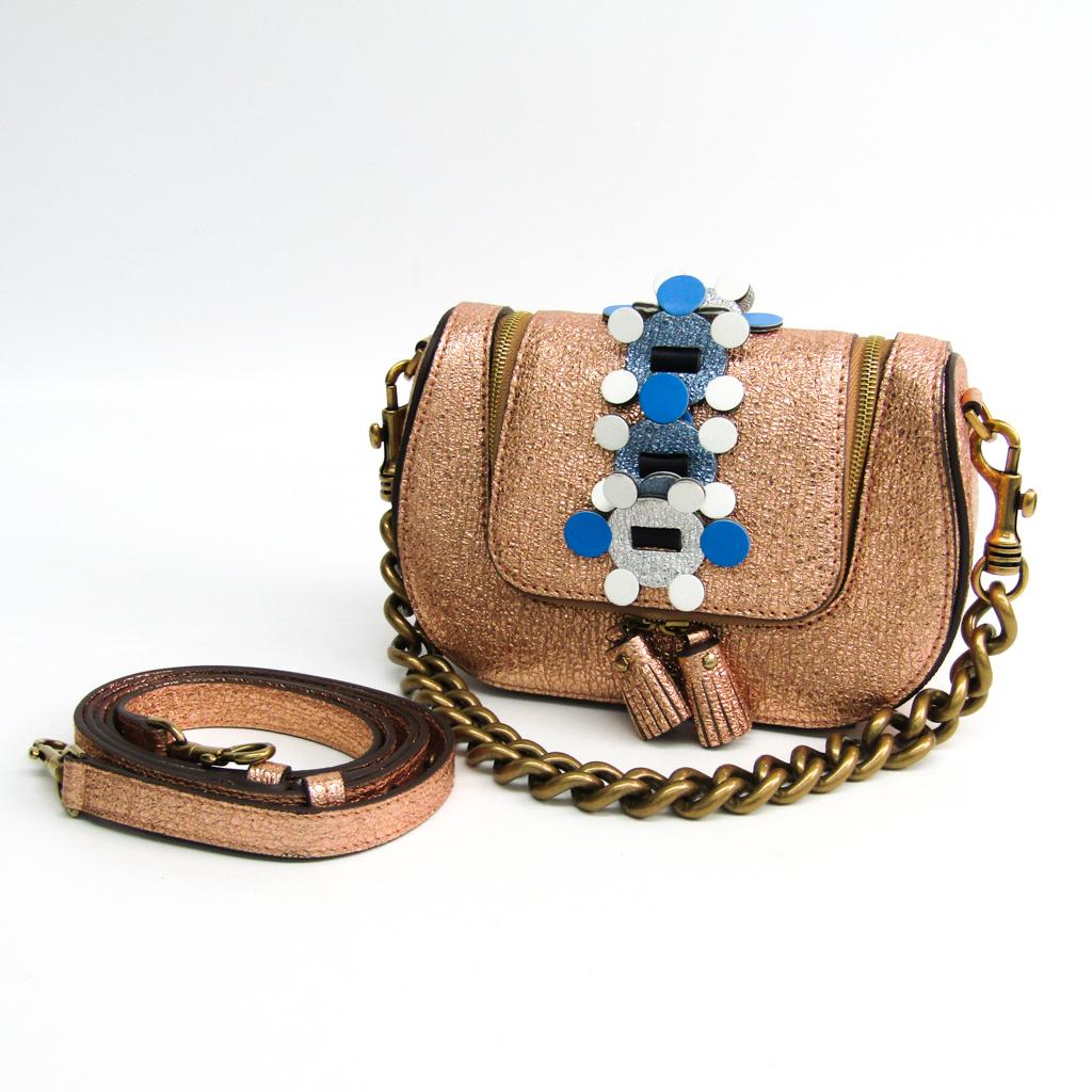 アニヤ・ハインドマーチ(Anya Hindmarch) Mini Vere Radius Bag 9488982 レディース レザー クラッチバッグ,ショルダーバッグ メタリックピンク