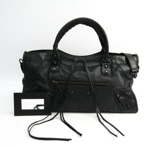Balenciaga Part Time 168028 Women's Leather Handbag Black
