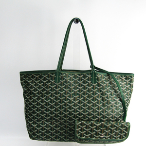 Goyard Saint Louis Saint Louis PM Leather,Canvas Tote Bag Green