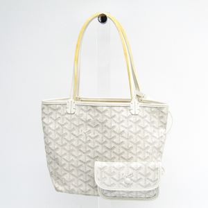Goyard Saint Louis Saint Louis Junior Leather,Canvas Tote Bag White