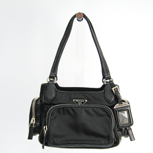 Prada Unisex Nylon,Leather Handbag Black
