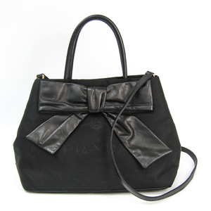 Prada Bow 1BG068 Women's Nappa Leather,Nylon Handbag Nero