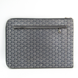 Goyard Unisex Leather,Canvas Clutch Bag,Document Case Gray