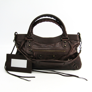 Balenciaga Fast 103208 Leather Shoulder Bag Brown
