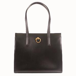 Auth Cartier Shoulder Bag Panthère leather Black Gold