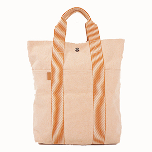 Auth Hermes New Fourre Kabas Tote Bag Canbas Orange Silver