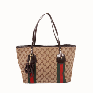 Auth Gucci Tote Bag Sherry Line GG Canvas Brown Silver