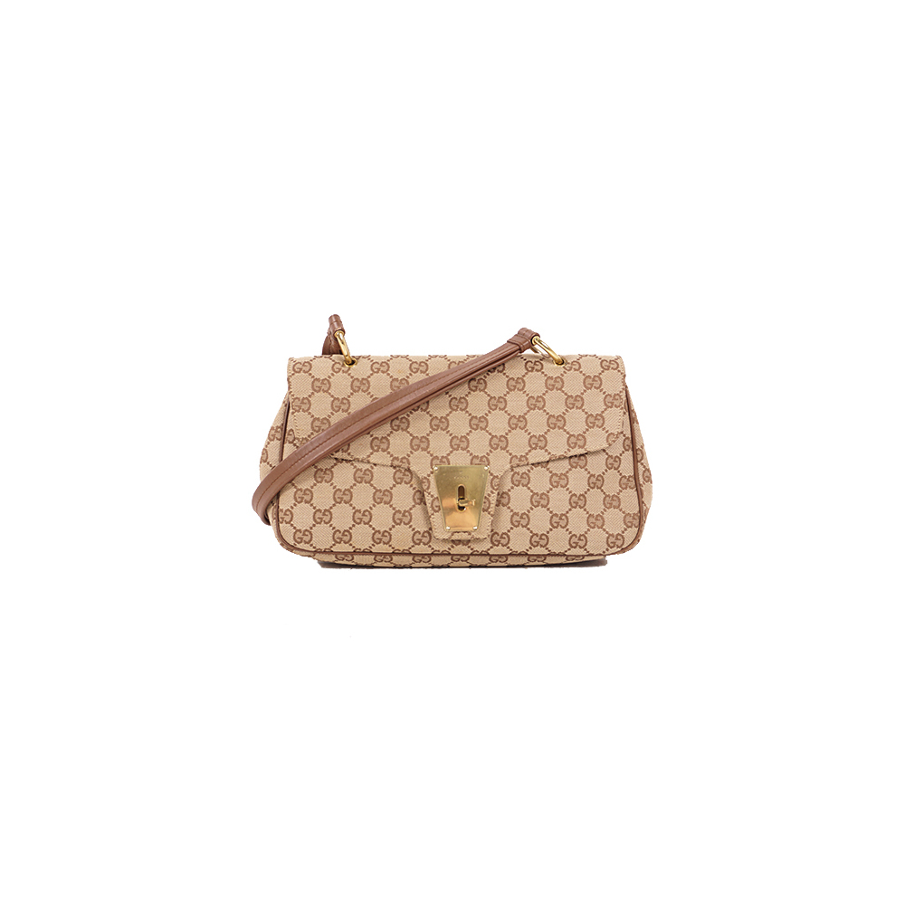 グッチ(Gucci)  GGキャンバス ショルダーバッグ Shoulder Bag ベージュ 【中古】レディース