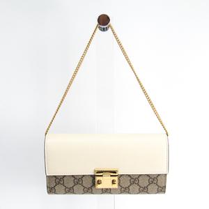 グッチ(Gucci) GGスプリーム 453506 GGスプリーム カーフスキン 長財布(二つ折り) ベージュ,アイボリー