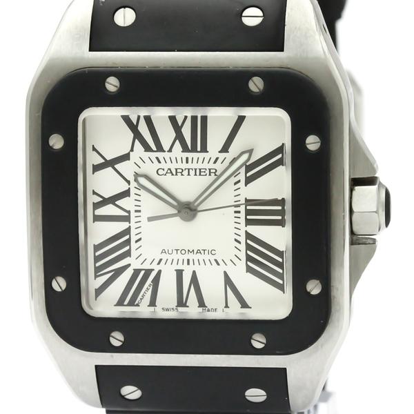 【CARTIER】カルティエ サントス 100 LM ステンレススチール ラバー 自動巻き メンズ 時計 W20121U2