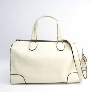 Valextra Unisex Leather Boston Bag,Handbag White