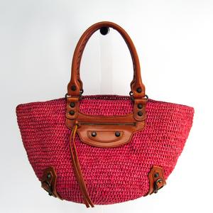 Balenciaga Raffia 236741 Straw Handbag Pink