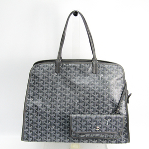 Goyard Le Chic Du Chien Hardy PM Leather,Canvas Tote Bag Gray