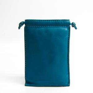 Hermes Pochette Pillow Women's Swift Leather Pouch Blue Green