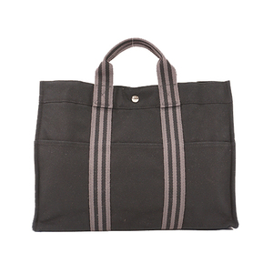 Auth Hermes Tote Bag  Fourre Tout MM Black Silver