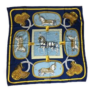 エルメス (Hermes) カレ90 GRAND APPARAT 盛装の馬 シルク スカーフ ブルー,ゴールド