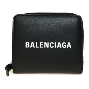 Auth Balenciaga 551933 DLQ4N Leather Wallet (bi-fold) Black