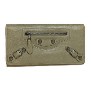 Auth Balenciaga Giant Continental 253054 Women's Leather Long Wallet (bi-fold) Beige