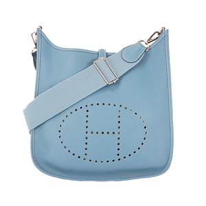 Hermes Evelyne 3 □P刻 Women's Taurillon Clemence Leather Shoulder Bag Blue Jean