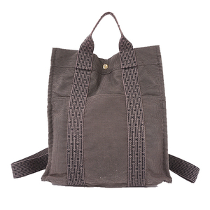 Auth Hermes Her Line Canvas Backpack Gray