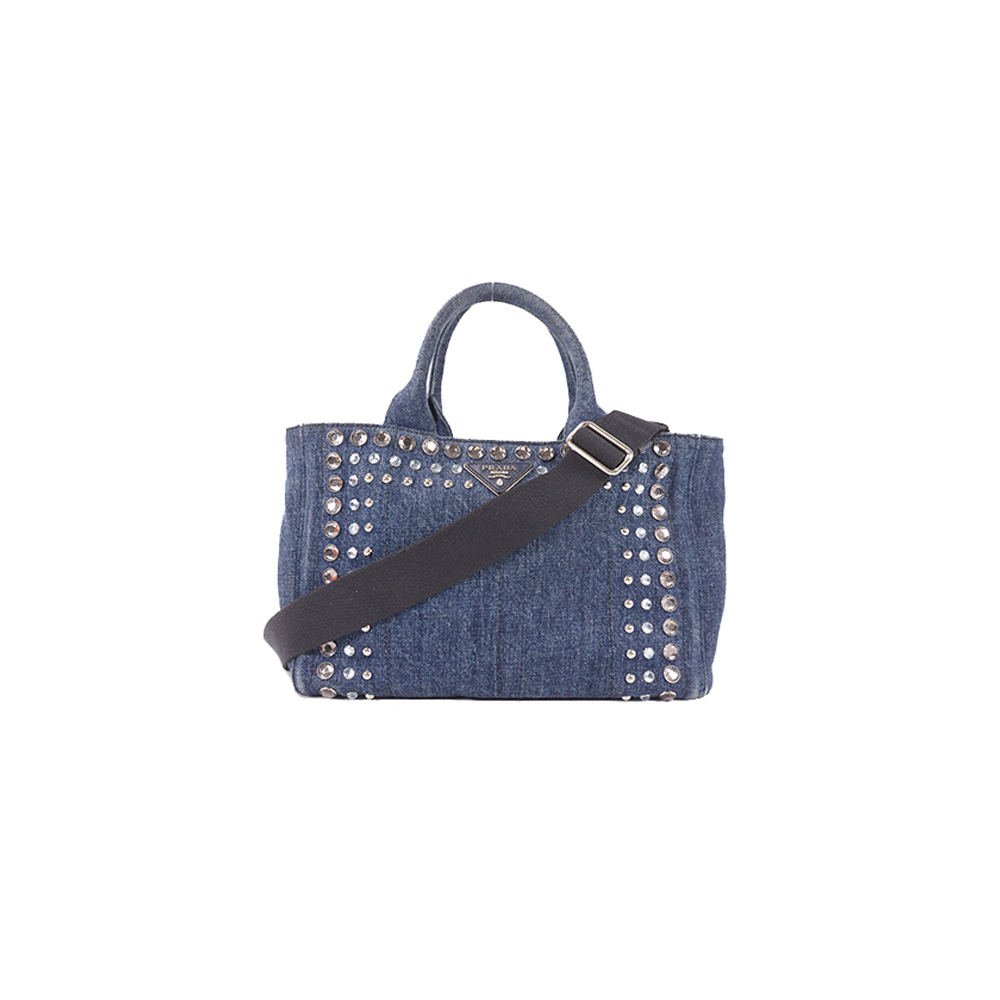 Auth Prada Canapa Tote Bag Women's Denim Handbag,Tote Bag Blue