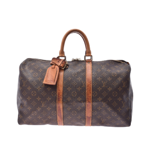 Louis Vuitton Monogram M41426 Men,Women Boston Bag Brown