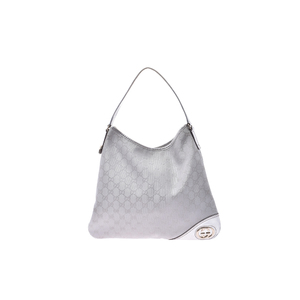 Gucci GG Canvas Semi Shoulder Bag Leather Bag Silver