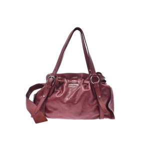 Miu Miu Leather Shoulder Bag Bordeaux