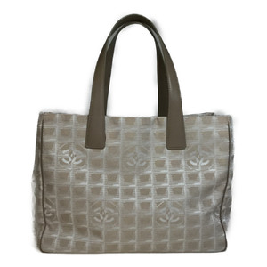 Auth Chanel New Travel Line A15991 Tote MM Tote Bag Beige
